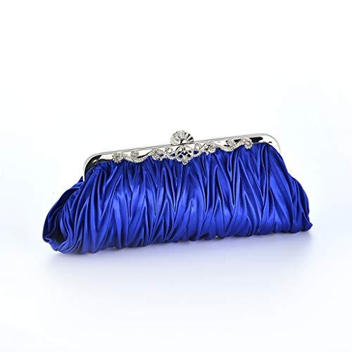 Superw Detachable Womens Evening Bag Chain Wedding Party Satin Strap with Blue Pleated Cocktail Handbag Handbags Clutch ryrqwAU8Sx