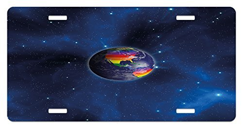 zaeshe3536658 Pride License Plate, Earth From Space with Continents in the LGBT Colors Universal Worldwide Love Freedom, High Gloss Aluminum Novelty Plate, 6 X 12 Inches. by zaeshe3536658