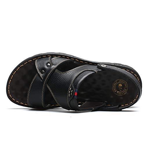 Hombres Wangcui Libre Zapatos Cuero Sandalias 39 Negro Color CM 24 Aire Cómodos Playa EU Verano Transpirables Sandalias Negro para De Al De De 0 1 27 0 tamaño Negras 3 z6wqPzx0rI