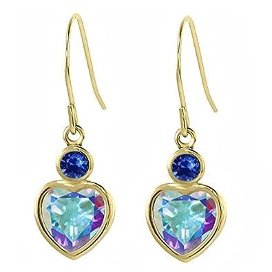 2.40 Ct Mercury Mist Mystic Topaz Blue Sapphire 14K Yellow Gold Earrings
