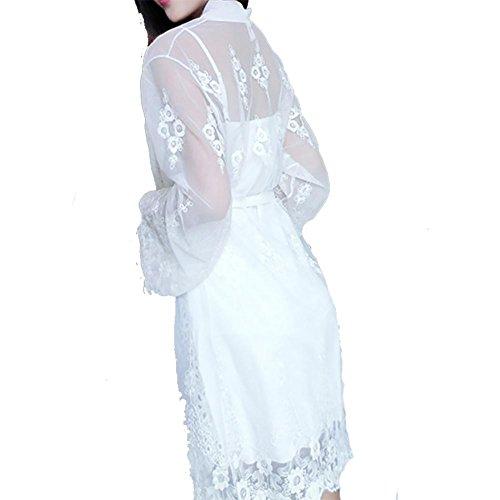 YUYU Cojín de pijamas con el pecho de encaje moda señoras camisón de dos piezas , white , m