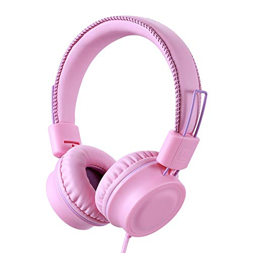POWMEE M2 Kids Headphones Wired Headphone for Kids,Foldable Adjustable Stereo Tangle-Free,3.5MM Jack Wire Cord On-Ear Headphone for Children/Teens/Girls/School/Kindle/Airplane/Plane/ (Pink)