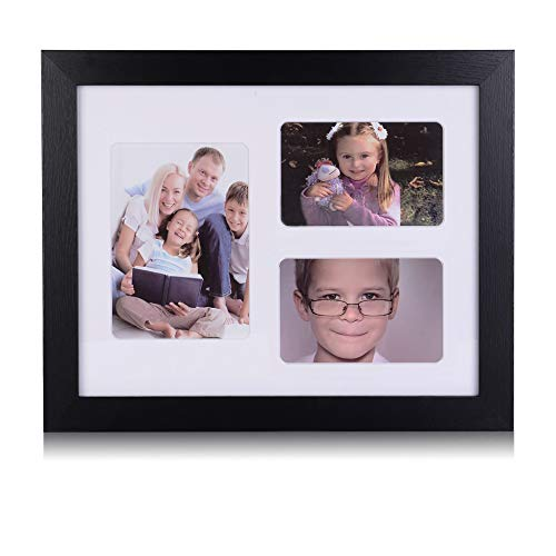 - 11x14 Picture Frame Collage - Display 4x6 and 5x7 Photos - Wall Frames w/3 Openings Mat