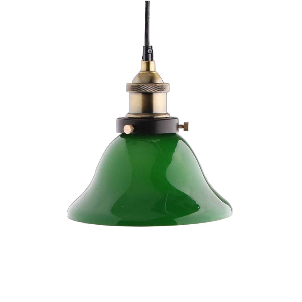 Huahan Extension Industrial Edison Vintage Style 1-Light Pendant Green Glass Hanging Light (Bulb Not Included)