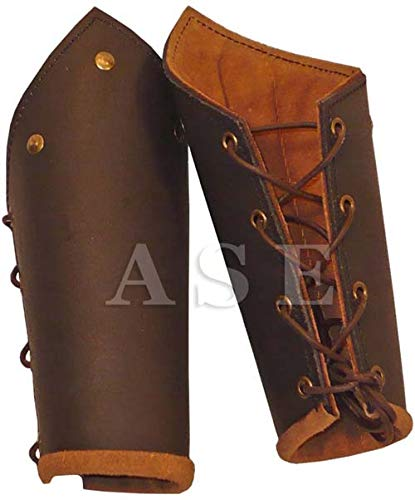 A S ENTERPRISES Leather Archery Arm Guard Hunting Shooting Arm Cuff Bracers Leather Arm Armor Guard
