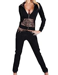 Cruiize Womens Casual Leopard Hoodie and Pants 2 Piece Tracksuit Set Outfit
