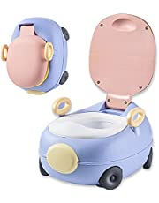 Potty Training Toilet, Grow with me & On The Go, Comfortable Soft Cushion seat,Easy to Clean, Removable Basin (Pink)