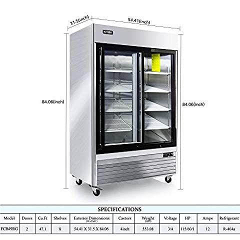 2 Glass Door Merchandiser Freezer – KITMA 49 Cu.Ft Stainless Steel Merchandiser Display Case with LED Lighting for Restaurant, 0°F – 8°F