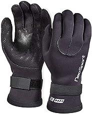 Neo Sport Men's and Women's 3MM & 5MM Premium Neoprene Wetsuit Gloves With Gator Elastic Wrist Ban