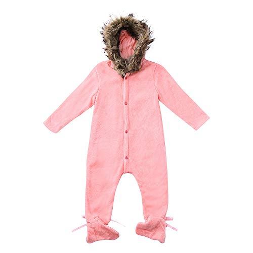 Birdfly 0-24M Infant New Born Toddler Fur Hoodie Warm Button Down Romper Jumpsuit Snow Suit (12-18M, -