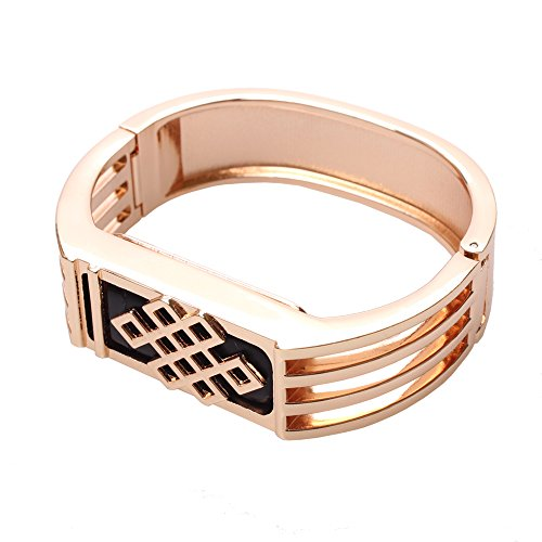 Eway Zine Alloy Housing Replacement Bracelet For Fitbit Flex Wireless Activity and Sleep Wristband Rose Gold