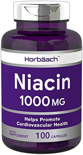 Horbaach Niacin 1000mg 100 Capsules | Non-GMO, Gluten Free | Quick Release Vitamin B3 |