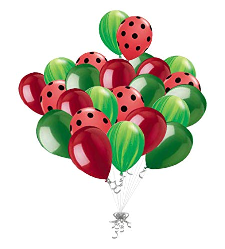 24 pc Red Watermelon Balloons Watermelon Theme Decoration 1st Birthday Party Supplies Inspired Latex Balloons Green Agate & Red Polka Dot Summer]()