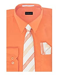 Aslanian Boys Solid Color Cotton Blend Woven Long Sleeve Dress Shirt with Tie & Handkerchief