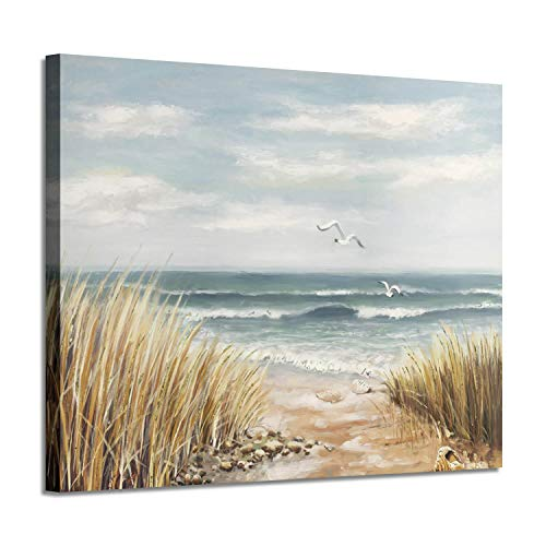 Seashore Artwork Coastal Wall Art: Abstract Beach Art Painting Print on Wrapped Canvas for Room Decoration (24'' x 18'')