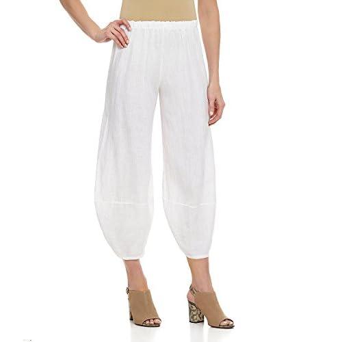 87abab65f2d 50%OFF Bryn Walker Women s Plus Heavy Flax Linen Oliver Balloon Leg Crop  Pants White