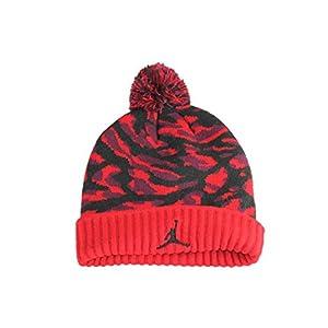 NIKE Boy's Jordan Jumpman Camo Pom Ski Cap Hat, Gym Red/Black, Size 8/20