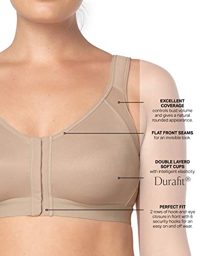 d7412b1e6 Leonisa Perfect Back Support Posture Corrector Brace Wireless Bra for Women  with Adjustable Front Closure Beige