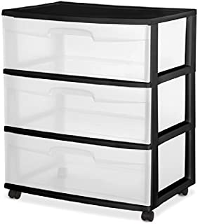 "product image for Sterilite 29309001 15-1/4"" X 21-7/8"" X 24"" Clear & Black Wide 3 Drawer Cart"