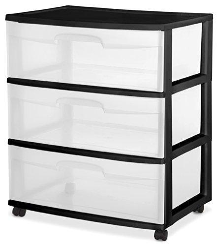 Sterilite 29309001 Wide 3 Drawer Cart, Black Frame with Clear Drawers and Black Casters, 2-Pack by STERILITE