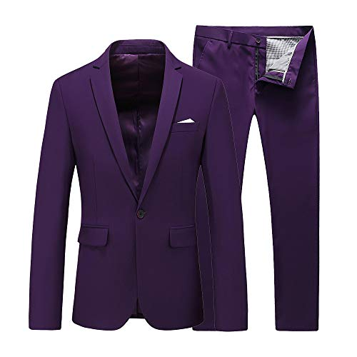 Mens Slim Fit 2 Piece Single Breasted Jacket Party Prom Tuxedo SuitsUS Size 44 (Label Size 6XL) Purple -