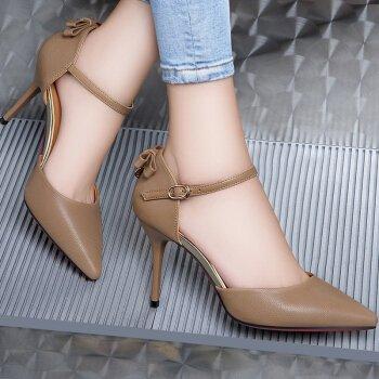 KHSKX-Einzelne Schuh Weibliche Starken Kopf Frühjahr Neues Produkt Eleganten Hochhackigen Schuhe Gut - Pendler Nude color