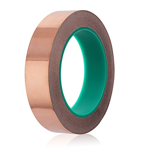 CEATECH Copper Foil Tape Double Sided Conductive 1inch x 21.8 Yards for EMI Shielding Guitar Stained Glass Crafts Paper Circuits Electrical Repairs andSlug & Snail Repellent