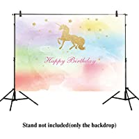 Allenjoy 8x6ft photography backdrops watercolor colorful unicorn children Birthday party banner gold golden Glitter glamour Sparkle stars photo studio booth background newborn baby shower photocall