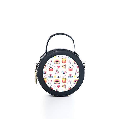 Fashion Microfiber&cowhide Zipper Round Packet Drumming Instrument Band Art Popular Print One Shoulder Cross-body Bags Handbag Small Round Wallet Circle Purse Clutch]()