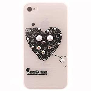 PEACH Black Heart with Diamonds and Pearls Design PC Hard Case for iPhone 4/4S