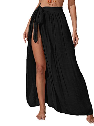 Floerns Women's Sheer Beach Swimwear Cover Up Wrap Skirt