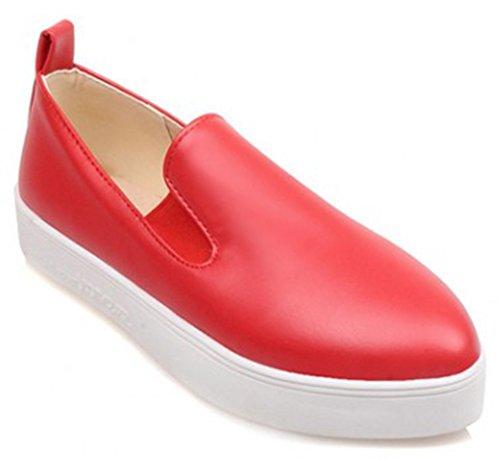 Idifu Femmes Casual Fermé Bout Pointu Slip Sur Mocassins Espadrilles Plate-forme Plate Chaussures Rouge