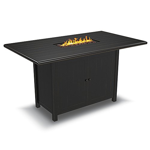 Ashley Furniture Signature Design - Perrymount Outdoor Rectangular Fire Pit Bar Table  - Plank Effect Styling - Storage Doors - Stainless Steel Burner with Glass Beads - Brown