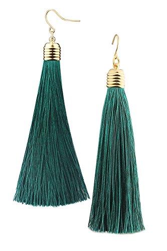 Mina Gold Long Tassel Draping 4 inch Drop Extra Long Shoulder Duster Green Earring