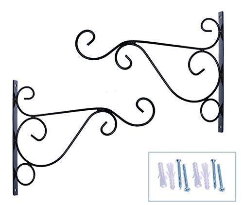 Orgrimmar Metal Plant Bracket 2 Packs Iron Wall Mount Planter Hangers for Hanging Bird Feeders, Lanterns, Wind Chimes, Planters, Outdoor Decoration Hooks