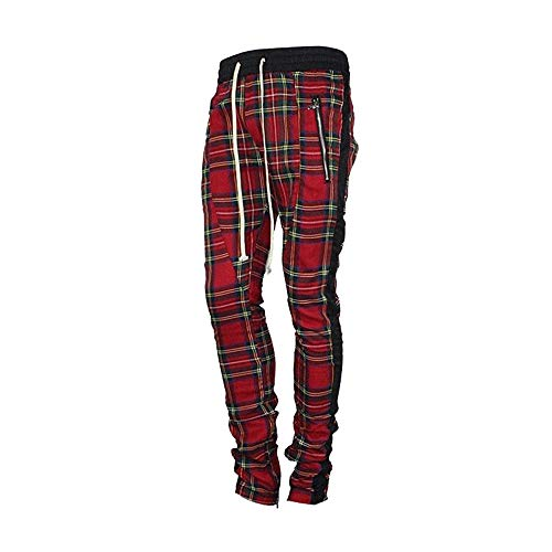 Stretch Plaid Pants - HANGJIA Mens Ankle Strap Zipper Lattice Joggers Mesh Stretch Waist Scottish Plaid Sweatpants-Red-L