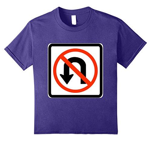 Last Minute School Appropriate Halloween Costumes (Kids No U Turn Sign Simple Easy Halloween Costume T-Shirt 8 Purple)