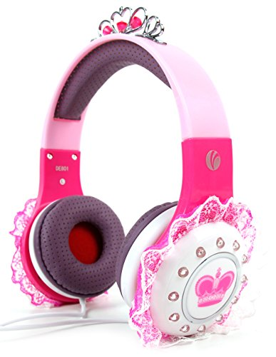 DURAGADGET Children's 'Princess' Tiara Headphones in Pink & Purple with Pretty Lace Detailing - Suitable for Use with Lexibook Spider Man CD Player RCD108SP | Star Wars RCD108SW | Unicornio RCD108UNI (Cd Players For Children Spiderman)
