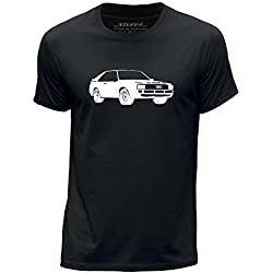 STUFF4 Men's Medium (M) Black Round Neck T-Shirt/Stencil Car Art / Sport Quattro