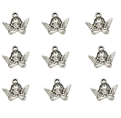 50 PCS Tibetan Antique Silver Fairy Angel Charms Pendant DIY Jewelry for Necklace Bracelet Making Accessaries 19X16mm (50pcs) -