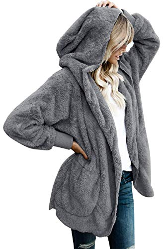 Womens Fuzzy Jacket Sherpa Coat Open Front Hooded Cardigan Outwear with Pockets (Dark Grey1 M)
