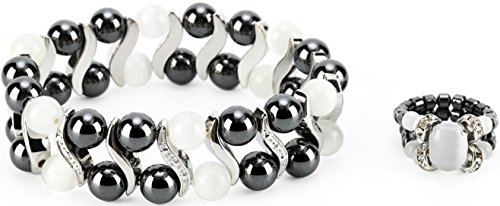 Elegant Womens Hematite Magnetic Therapy & Healing Stone Bracelet & Ring Set Pain Relief for Arthritis and Carpal Tunnel (White Cat Eye)