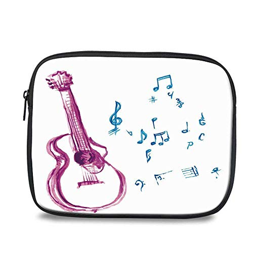- Guitar Durable iPad Bag,Watercolor Musical Instrument with Notes Sheet Elements Brush Stroke Effect Decorative for iPad,10.6