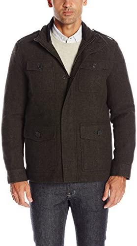 Dockers Mens Wool Fancy Four Pocket Military Jacket with Bib