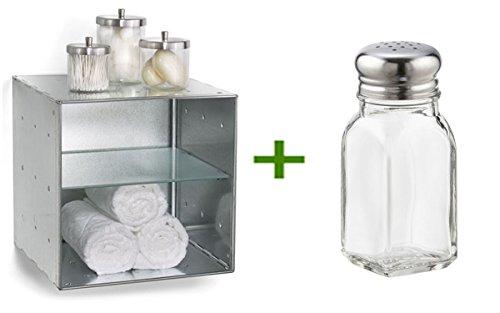 QBO Steel Cube Galvanized, 2 oz. Salt or Pepper Shaker (Galvanized Steel Cubes)