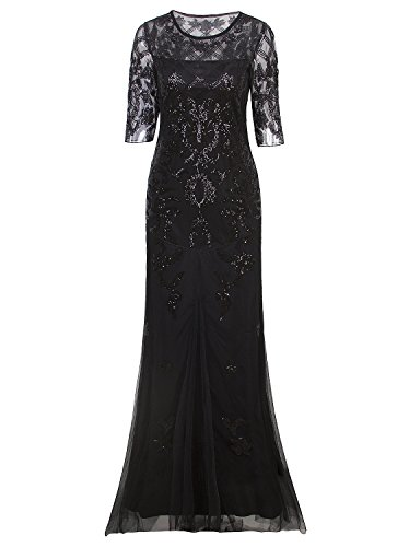 Vijiv Vintage 1920s Long Wedding Prom Dresses 2/3 Sleeve Sequin Party Evening Gown, Black, X-Large