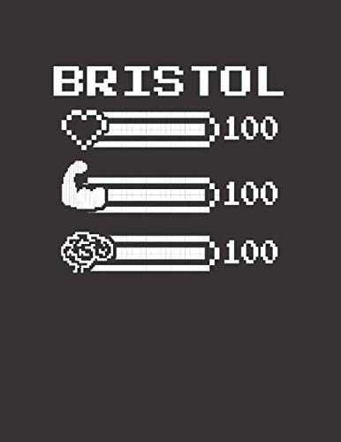 BRISTOL: Pixel Retro Game 8 Bit Design Blank Composition Notebook College Ruled, Name Personalized for Girls & Women. Gaming Desk Stuff for Gamer ... Gift. Birthday & Christmas Gift for Women. ()