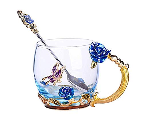 Luxury Enamel Glass of Butterfly Rose Heat-Resistant Crystal Glass Coffee Cup Couples Creative Gift Flower Tea Cup (Blue rose)