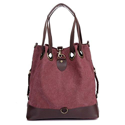 Retro Women Tote Bag Canvas Bucket Bag Large (purplish red) by MINGCHEN