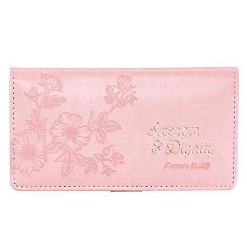 "Checkbook Cover for Women & Men ""Strength & Dignity"" Christian Pink Wallet, Faux Leather Christian Checkbook Cover for Duplicate Checks & Credit Cards - Proverbs 31:25"